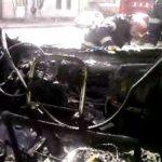 MANA CRIMINALA – Autocamion incendiat de persoane necunoscute, in orasul Borsa