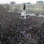 MARSUL SOLIDARITATII – O multime de oameni pe strazile Parisului