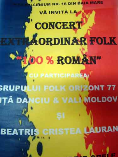 Foto: afis concert folk Baia Mare