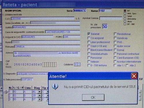 Foto: eroare program reteta electronica